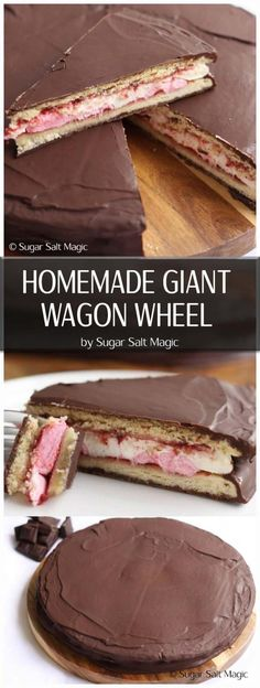 An oversized Wagon Wheel to share with everyone. Delicious biscuit, marshmallow and raspberry jam all smothered in dark chocolate Raw Food Recipes, Baking Recipes, Cookie Recipes, Snack Recipes, Dessert Recipes, Desserts, Snacks, Halal Recipes, Baking Ideas