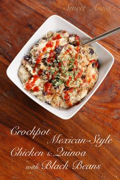 """Crockpot Mexican-Style Chicken & Quinoa with Black Beans (THM - """"E"""" meal)   Sweet Anna's"""