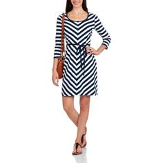Make a statement with the Allison Brittney Women's Striped Dress. This fashion-forward casual dress features bold chevron stripes in a neutral navy and white color palette. Available at Walmart.com.