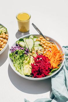 RAINBOW SALAD with NUTRITIONAL YEAST DRESSING - Wholehearted Eats
