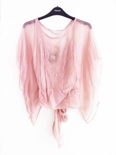 Topshop blush pink embroidered chiffon top. Insanely good quality for High Street. Pic by me.