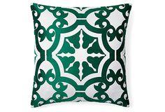 Tori 20x20 Embroidered Pillow, Green on OneKingsLane.com