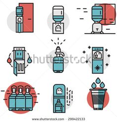 Flat line design blue and red vector icons for water cooler machine and supplies. Potable water delivery, water purifier, electric cooler machine for office, home and business.