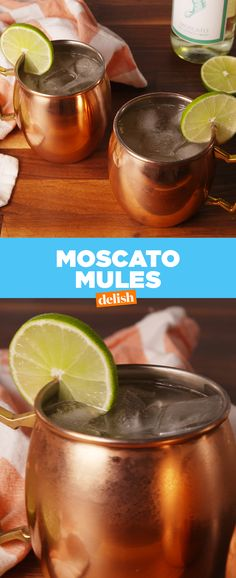 Moscato Mules are the drink you never knew you needed. Get the recipe at Delish.com. #recipe #easyrecipes #alcohol #liquor #cocktails #moscow #wine #moscowmule #moscato