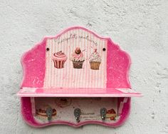 Items similar to Pink Wooden Shelf with Hooks, Cupcakes Wood Shelf, Spice Rack, Pink Home Decor with Cakes on Etsy Bakers Kitchen, Cute Kitchen, Cupcake Crafts, Diy Cupcake, Rose Cupcake, Cupcake Kitchen Theme, Cupcake Boutique, Decoupage, Hello Kitty House