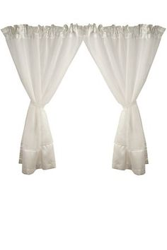 This 2 pack tonal voile cafe curtain made from sheer polyester has a border detail and attached tie backs. These short, tapered curtains are perfect for dr