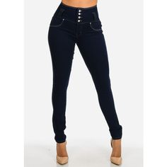 Butt Lifting High Waisted Skinny Jeans With Contrast Stitching (Dark... (68 PEN) ❤ liked on Polyvore featuring jeans, high rise skinny jeans, high-waisted jeans, high waisted skinny jeans, skinny jeans and denim skinny jeans