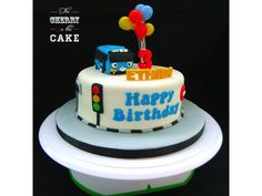 Tayo the Little Bus Cake: First Birthday Decorations Boy, Cake Recipe For Decorating, Bus Cake, Tayo The Little Bus, 2 Birthday Cake, Birthday Kids, Cherry On The Cake, Cake Mix Muffins, Caramel Treats