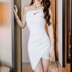 Pretty Short Dresses, Elegant Dresses, Sexy Dresses, Korean Fashion Dress, Korean Dress, Edgy Outfits, Classy Outfits, Dress Outfits, Girls Fashion Clothes