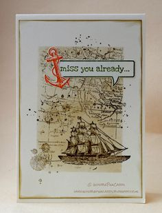 InvisiblePinkCards: Stampin' Royalty - Colour challenge - SU - Stampin' Up The Open Sea, World Map, Just Sayin', Gorgeous Grunge
