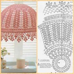 Crochet pattern for home Crochet Decoration, Crochet Home Decor, Crochet Crafts, Crochet Projects, Lampe Crochet, Crochet Lampshade, Crochet Doilies, Lampshade Chandelier, Lampshades