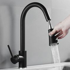 Black Kitchen Mixer Taps Pull Out Spout Spray Sink Basin Brass Faucet Kitchen Basin Sink, Kitchen Mixer Taps, Kitchen Pulls, Sink Mixer Taps, Kitchen Benchtops, Kitchen Faucets, Kitchen Redo, Kitchen Styling, Bathroom Faucets