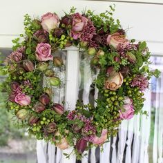 What a beautiful selection of flowers! Wreaths And Garlands, Holiday Wreaths, Door Wreaths, Floral Wreaths, Wreath Crafts, Diy Wreath, Grapevine Wreath, Silk Flowers, Dried Flowers
