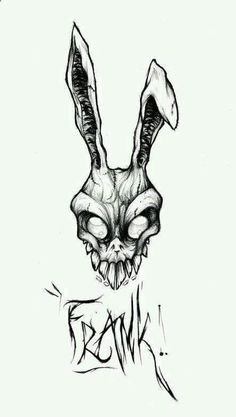 Donnie Darko was one of my favorite movies. Frank the rabbit looks so badass I want that costume. I would get this without frank though. Tattoo Sketches, Tattoo Drawings, Drawing Sketches, Body Art Tattoos, Pencil Drawings, Art Drawings, Gothic Drawings, Movie Tattoos, Creepy Drawings