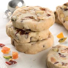 Refrigerator Fruit and Nut Cookies: King Arthur Flour Delicious! Sprinkled confectioner's sugar on cookies after cooling. Gave a little sweetness! Icebox Cookies, Fruit Cookies, No Bake Cookies, Cookie Bars, Cookie Dough, Shortbread Cookies, Baking Recipes, Cookie Recipes, Dessert Recipes