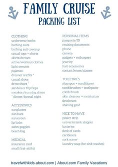 Packing List for Cruise   Cruises and Cruise checklist