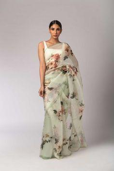 Buy online Sarees - Mint greeen printed organza floral sari from Sagar Sarees Indian Fashion Dresses, Dress Indian Style, Indian Designer Outfits, Fashion Blouses, Women's Fashion, Fashion Outfits, Trendy Sarees, Stylish Sarees, Indian Wedding Outfits