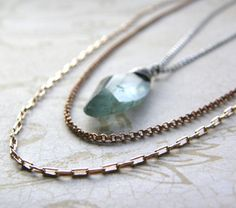 Moss Aquamarine Pendant Necklace, Layered Chain Necklace, Mixed Metals Necklace, Boho Necklace by RachelUngerJewelry on Etsy https://www.etsy.com/listing/124053474/moss-aquamarine-pendant-necklace-layered