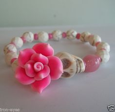 "Day of The Dead Sugar Skull Pink Flower White Faceted Bead Stretch Bracelet 7"" | eBay"