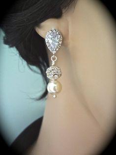 Pearl earrings // Sterling Silver // by QueenMeJewelryLLC on Etsy, $29.99