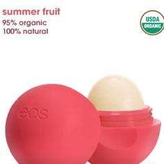 Eos Chapstick. Obsessed with lip stuff.  I have this one called summer fruit.
