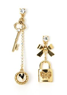 Betsy Johnson - key & lock mismatch earrings