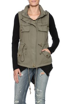 Military inspired vest with a drawstring waist pockets and a hidden zipper closure.  The Carmen Vest by Fashionomics. Clothing - Jackets Coats & Blazers - Vests Minneapolis Minnesota
