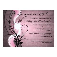 Rose Swirls Birthday Party Invitation