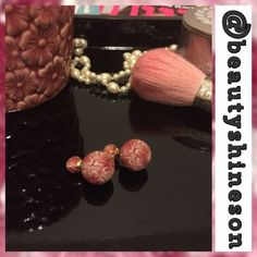 """Classy Double Sided Earrings - 2 for $20 Very trendy double sided earrings in a beautiful pinkish floral design, classy! See 3rd pic for how & who are wearing them...everyone in Hollywood!! Size: large (back) ball 16mm/0.63"""" & small (front) ball 8mm/0.31"""". Brand new, never worn. No Trades, No PP. Price Firm. Jewelry Earrings"""