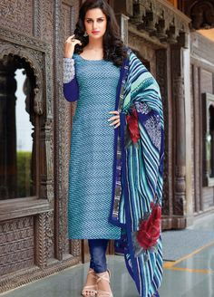 Blue Is Always Awesome...Shop Online this Casual Salwar Kameez Tussar Silk Suit @ Manndola.com