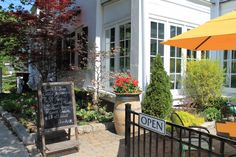 Patio at the Charles Hotel in Niagara on the Lake. The perfect spot for outdoor dining in historic town.