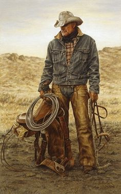 ballantyne art Morris McCarty-Working Cowboy- Want one of my honey done like this!carrie ballantyne art Morris McCarty-Working Cowboy- Want one of my honey done like this! Real Cowboys, Cowboys And Indians, Cowboy Horse, Cowboy And Cowgirl, Desenhos Halloween, Westerns, Cowboy Pictures, Cowboy Images, West Art