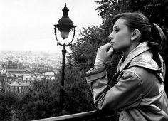Audrey Hepburn contemplating Paris.