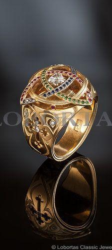 "Lobortas Men's Jewelry ""Three Threads"" Ring: gold, diamonds, sapphires, rubies, demantoides. №312261"