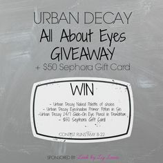 Urban Decay & Sephora Giveaway! An Urban Decay Naked Palette (you get to choose which one you want!), a full-size tube of Urban Decay Eyeshadow Primer Potion in Sin (my favorite), an Urban Decay Glide-On Eye Pencil in Demolition, AND a $50 Sephora Gift will be yours if you win!  http://lovelyladyjb.blogspot.com/2014/05/urban-decay-sephora-giveaway.html