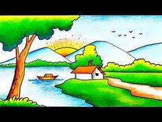 Easy Scenery Drawing for Kids-Scenery for Kids-Scenery Drawing Step by Step Nature Drawing For Kids, Rainy Day Drawing, Easy Scenery Drawing, Landscape Drawing Easy, Drawing Lessons For Kids, Painting For Kids, Some Easy Drawings, Cute Little Drawings, Cute Cartoon Drawings