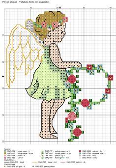 alfabeto fiorito con angioletto P