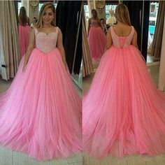 Find More Evening Dresses Information about  custom made fashion lovely pink long evening dress scoop pearls ball gown tulle  women pageant gwon for formal prom party 2016,High Quality evening dress,China evening dress fashion Suppliers, Cheap evening fashion dresses from suzhou  helen wedding dress company on Aliexpress.com
