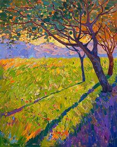 Crystal light mosaic oil painting landscape by California artist Erin Hanson