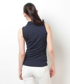 【ストレッチ鹿の子 ノースリーブ ポロシャツ】ストレッチピケを使用した袖なしポロシャツ。柔らかく、着心地のよ…