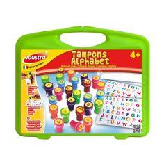 Une petite mallette en plastique, avec des tampons de l'alphabet auto-encrés, de couleurs différentes. Encre lavable.