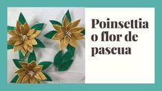 Poinsettia o Flor de Pascua Poinsettia, Christmas Ornaments, Holiday Decor, Tableware, Youtube, Home Decor, Craft Videos, Christmas Decor, Drive Way