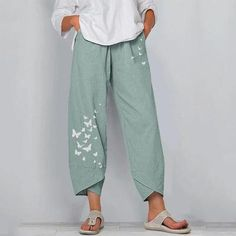 Jumpsuits-0514 Denim Patchwork, Pants For Women, Clothes For Women, Butterfly Print, Wide Leg Pants, Chic Outfits, Elastic Waist, Trousers, Legs
