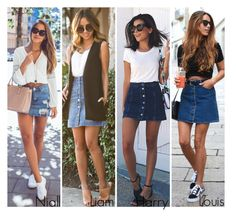 """Outfit with denim skirt"" by perfectharry ❤ liked on Polyvore"
