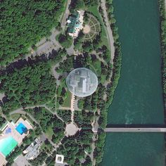 Famous Works of Architecture Seen from Outer Space: Montreal Biosphère in Canada - photo from DigitalGlobe, via architecturaldigest Montreal, Famous Architecture, Space Photos, Famous Words, Zaha Hadid, City Buildings, Outer Space, Wind Chimes, City Photo