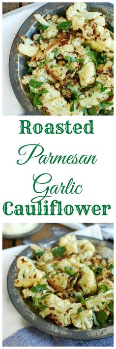 Roasted Parmesan Garlic Cauliflower is a fun, delicious way to make cauliflower. Roasting the cauliflower brings out a sweet flavor that pairs nicely with garlic and warm parmesan cheese. This makes an easy side dish the whole family will love! //A Cedar