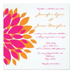 Simple Pink and Orange Flowers Wedding Invitations