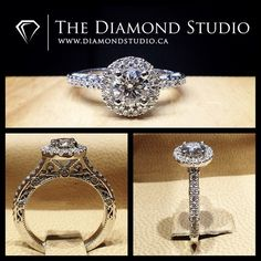 Another amazing @diamondboi halo / vintage ring. This design was made with a round cut diamond. The diamond sits on a tight round Italian pave halo. The thin shank was also made with diamonds in an Italian pave setting. The gallery incorporates so much detail with my vintage scroll work. #diamond #diamonds #wedding #weddings #engagement #ring #rings #bride #brides #jewellery #jewelry #halo #vintage #diamondboi