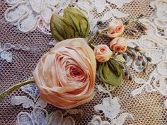 antique silk ribbon roses