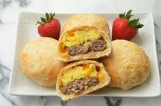 You only need five main ingredients to make these sausage egg and cheese stuffed breakfast biscuits. Make a batch and enjoy hot breakfasts all week long!